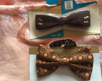 Vintage Bowties / Set of  2 Clip On Bowties / Ready to Wear Bowties / de Carlo Bowtie / Westley Bowtie / NOS Bowties