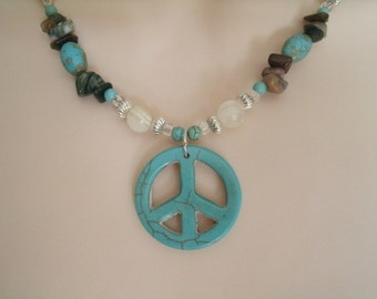 Turquoise Peace Sign Necklace, boho jewelry hippie jewelry gypsy jewelry bohemian hipster tribal ethnic metaphysical new age boho necklace