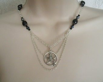 Witch Hat Pentacle Necklace, wiccan jewelry pagan jewelry wicca jewelry witch goddess witchcraft pentagram magic metaphysical gothic occult