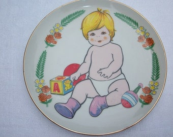 Vintage Adorable Blonde Baby Plate Made in Japan