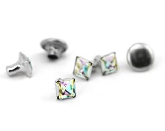 Rivet-Crystal Snap Rivets Square-Prism 6mm Head Size-You get 5-Impressart-Metal Supply Chick