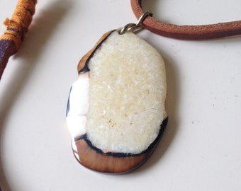 Petrified Wood and Hand Cut Leather Necklace