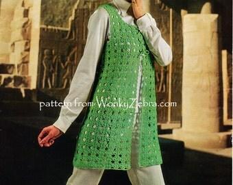 Vintage 70s Crochet Waistcoat Vest Pattern PDF 784 from WonkyZebra