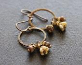 SALE Earthy Beaded Hoop Earrings, Czech Glass Earrings, Flower Earrings