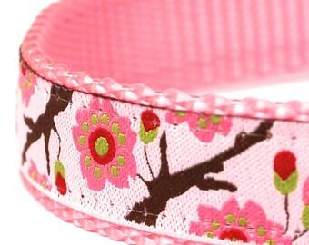 Pink Cherry Blossom Dog Collar, Floral, Garden Spring Pet Collar, Flowers