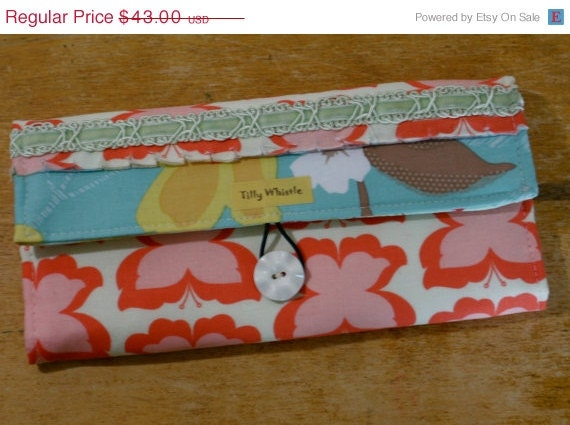 Sale Girls Wallet, Butterflies, Shabby Wallet Coral and Aqua Wallet, Vegan Wallet  - Ready to Ship