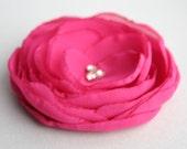 Handmande Hot Pink Flower Flower Hair Clip, Fuschia Bridal Accessory, Hot Pink Flower Hair pins, Flower Girl Accessory, Hot Pink Bridesmaid