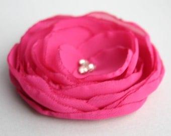 Handmade Pink Bridesmaid Hair Accessory, Pink Wedding Hairpiece, Pink Flower Girl Wedding Accessory, Pink Bridal Accessory, Flower Hair clip