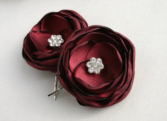 Burgundy Bridal Flower Hairpieces Dark Red Floral Hair Pins