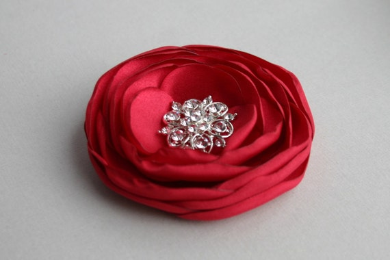 Red Flower Hairpiece, Ruby Red Bridesmaid Hair Pin, Flower Girl, Red Flower Hair Piece, Bridal Headpiece, Red Wedding Floral Hairpins