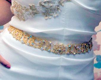 Gold AB Sash - Gold AB Belt - Bridal Belt - Bridal Sash - Prom Belt - Prom Sash - Wedding Sash - Wedding Belt - Crystal Belt - ANTOINETTE