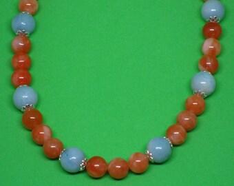 Spessartite Garnet and Amazonite Necklace