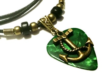 Guitar Pick Necklace - Anchor Necklace - Nautical Jewelry - Green -  Guitar Pick Jewelry - Christian Jewelry - Adjustable Necklace