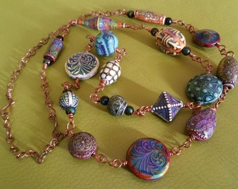 Bohemian Eclectic Nature Colour Changing Modern Tribal  Copper wire Necklace
