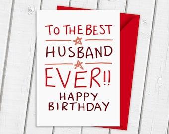 Best Husband Ever Hand-Drawn Birthday Card