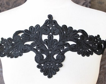 Venice applique yoke black color 1 pieces listing 18 inches long 6 inches wide in the middle