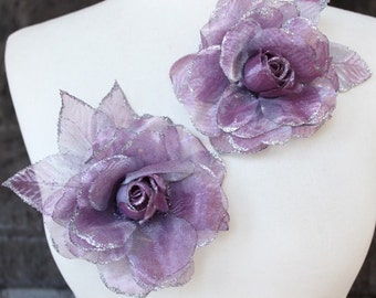 Cute organza  flower   pin 2  piece listing
