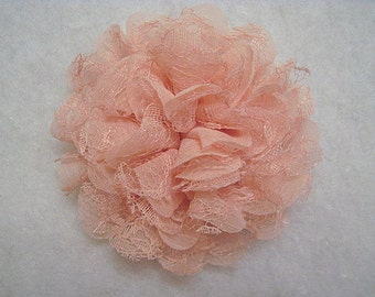 """4.25"""" Large Lace Layered Flower Peach"""