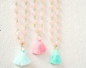 Girls Pastel Tassel Necklaces, Tassel necklace for girls, pastel tassel necklace