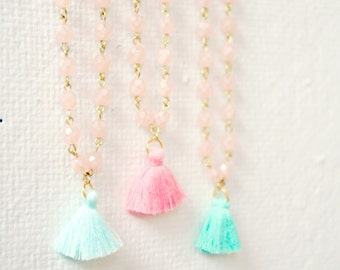 Girls Pastel Tassel Necklaces, Tassel necklace for girls, pastel tassel necklace