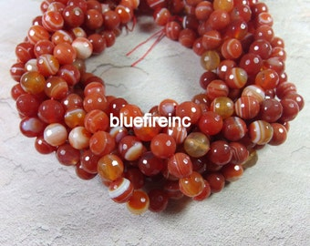 38 pcs 10mm faceted round agate beads