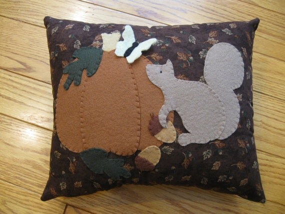 Squirrel and Pumpkin  Autumn/ Fall  Applique Pillow