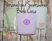 Personalized Seersucker Bible Carrying Case - Your Choice of Monogram or Name