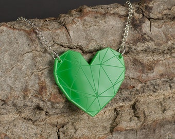 Green Heart Necklace – on Sterling Silver Chain – Lasercut Acrylic