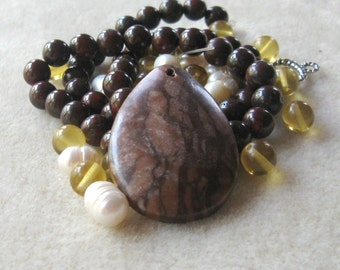 African Landscape Jasper, Freshwater Pearls, Glass Beads, Poppy Jasper, Craft Supplies, DIY Jewelry Kit,  Gemstone Pendant, gemstone Beads,