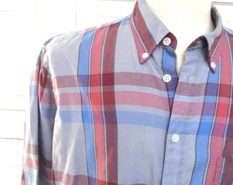 Levis Vintage Plaid Oxford Shirt Blue Red Gray Short Sleeve Summer Button Up Shirt Men Large