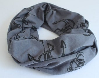 Anchor Small Scarf, Infinity Scarf, 100% Organic Cotton Jersey, Circle Scarf, Nautical, Hand printed in Canada, Fall Scarf