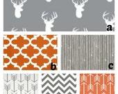Custom Crib Bedding You Design   Bumper and Bedskirt  Orange Grey Woodland