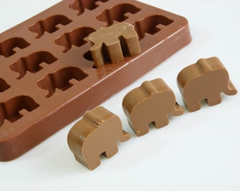 Elephants Animals Silicone Chocolate / Candy Bakeware Mould for Cookies, Cupcake Toppers, Wax Melts, Resin, Decorations