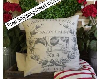 Cow Pillow - French Farmhouse - Farmhouse Decor | Rustic Decor | Insert Included