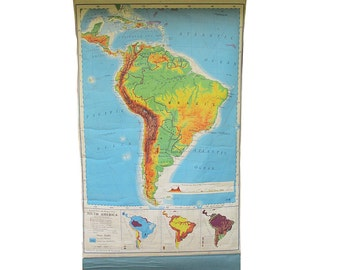 Large 1961 South America Wall Map, Canvas Backed School Classroom Map, Vintage Map, School Map