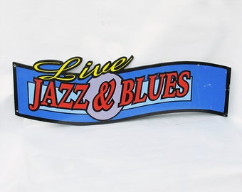 "Vintage Wooden ""Live Jazz & Blues""  Sign"