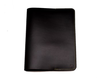 Hand-Stitched Leather cover for Professional Notebook in DARK BROWN