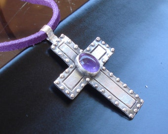 Sterling Silver Cross Pendant With Amethyst Gem-Christian Cross design