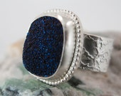 Deep Blue Drusy Ring set into Sterling Silver Handcrafted Size 6