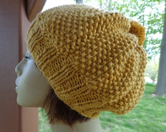 Slightly Slouchy Beanie in Sungold with Pompom