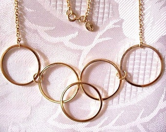 Five Ring Necklace Gold Tone Vintage Avon Link Chain Gilded Circles 1977