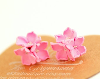 Flower earrings, neon pink studs, summer studs posts accessories