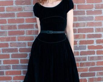 Vintage 1950's Black Velvet Party Dress