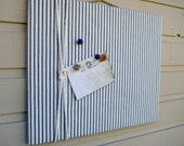Linen Ticking Pin Board, Photo Bulletin Board with cotton rope detailing made with classic nautical blue and white ticking linen cabin decor
