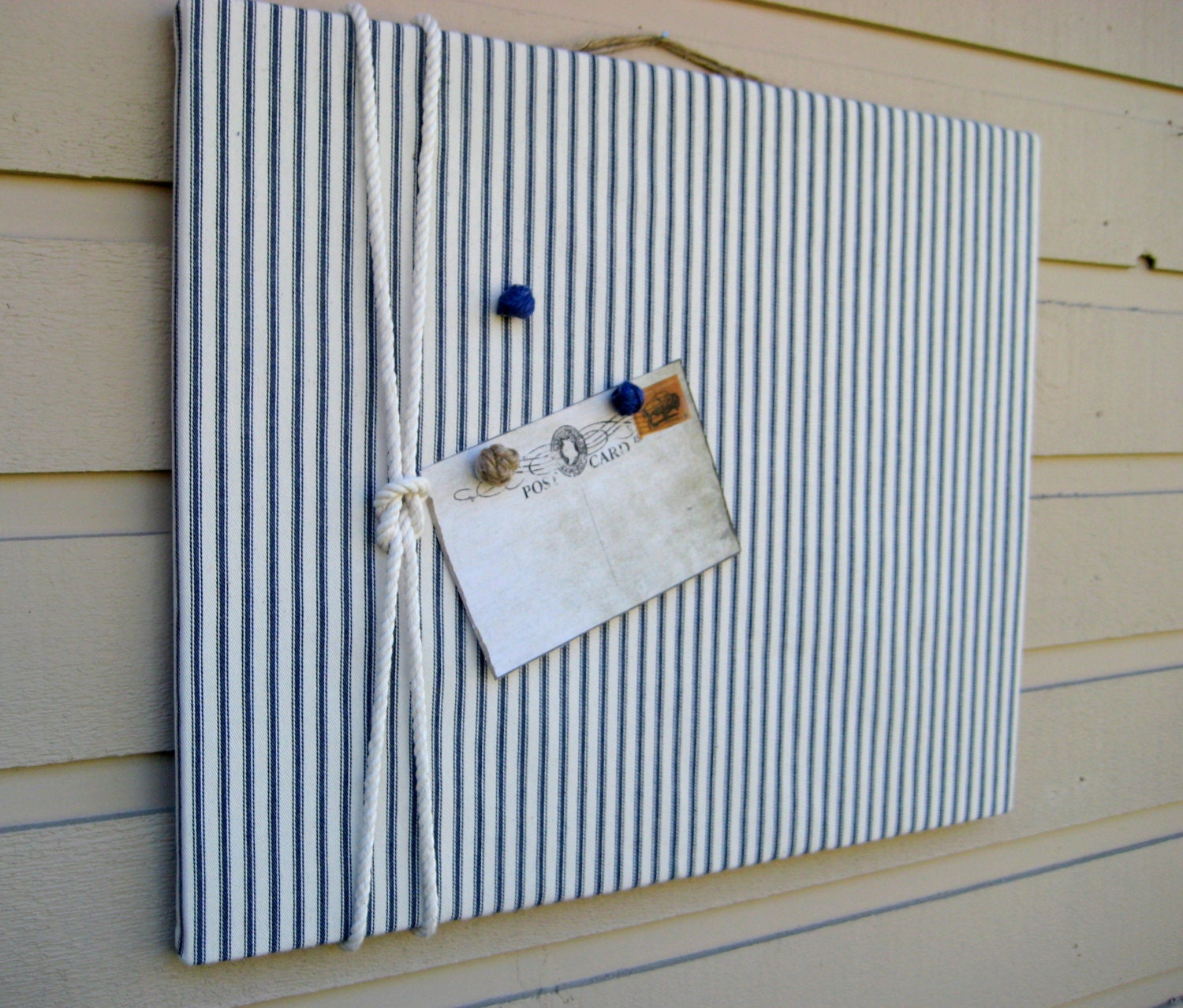 Linen ticking pin board photo bulletin board with cotton rope for Linen cork board