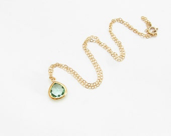 Green stone necklace. Long and layered. Initial Necklace. glass stone. New Mom Necklace. Personalized gifts for her. Sela Designs. Minimal