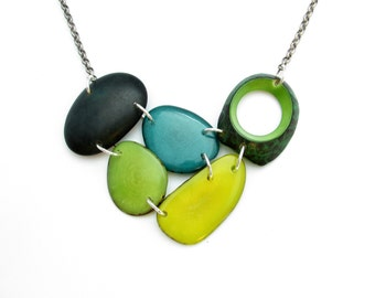 Tagua nut jewelry. Mixed greens necklace. Turquoise Necklace. Lime Necklace. Jade Necklace. sela Designs. READY to SHIP JEWELRY. Under 40
