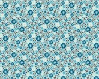 Riley Blake Designs Roundup Floral Blue  - 1 yard