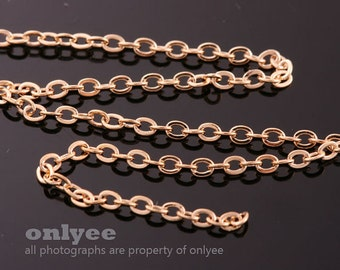 1Meter(1yd)- 2mm x 1.6mm Bright Gold flat cable chains deilcate fine chains / jewelry making necklaces(N136G)