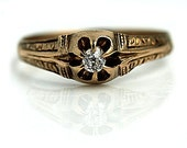 RESERVED RESERVED RESERVED Antique Victorian Engagement Ring 18k Rose Gold .10ctw Mine Cut Antique Promise Gold Ring 1800s Diamond Wedding
